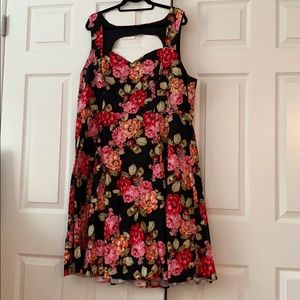 Torrid Black and Floral Sweetheart Retro Dress